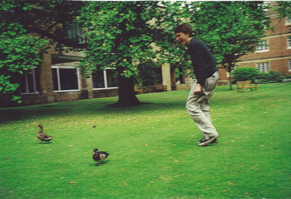 Michael chasing ducks